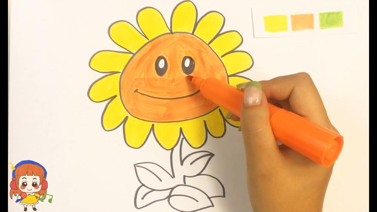 children drawing plants v s zombies sunflower youtube