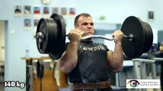 Подъем штанги на бицепс 140 кг на 5 раз от Дениса Цыпленкова