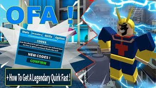 New Codes + How To Get Any Legendary Quirk Fast ! | Boku No Roblox: Remastered | Roblox MHA Game