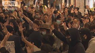 """香港・抗議デモ 選挙に向け過激行動を""""自制""""(19/11/22)"""