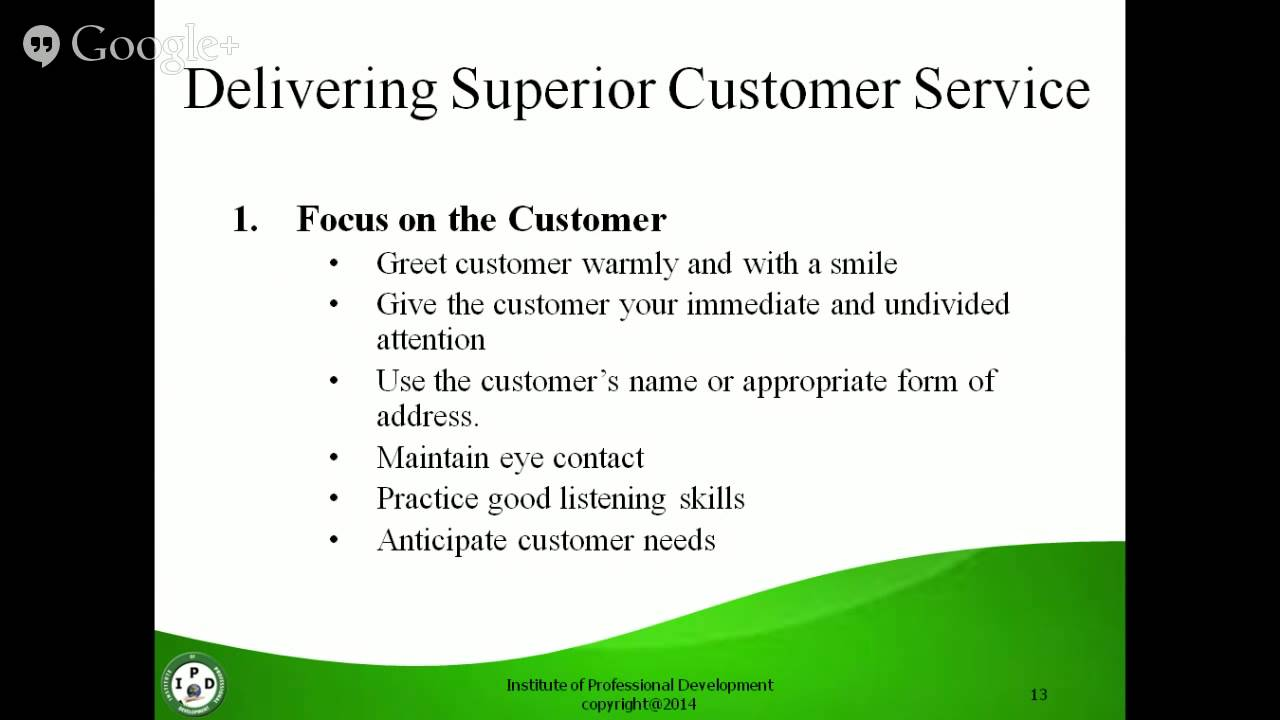 superior customer service skills