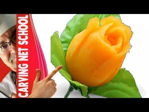 Lesson 17, Carving, การแกะสลักผลไม้, 水果雕刻, Ukiran buah, 果物のカービング, Khắc trái cây, naik ukiran, 조각 장미