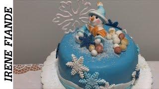 Самый красивый Новогодний #торт со снеговиком.  Пошаговый рецепт
