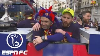 Lionel Messi, Barcelona celebrate La Liga, Copa del Rey titles with parade through streets | ESPN FC