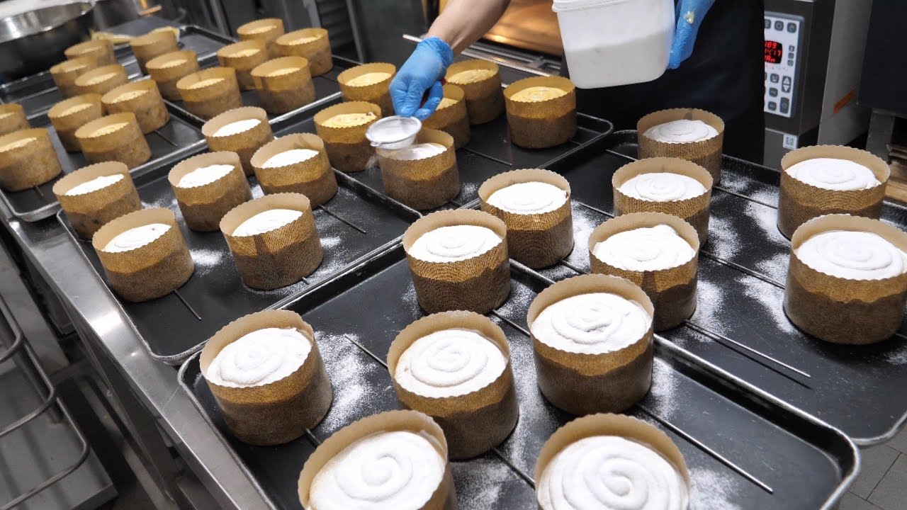 빵 반죽 숙성만 무려 3일!? 촉촉함의 극치! 슬로우 빵 파네토네 Mass making panettone bread - Korean street food