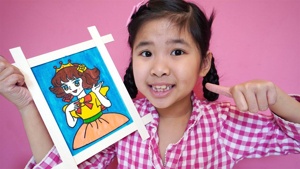 Bé Bún Tô Màu Tranh Gỗ Công Chúa - Coloring princess picture