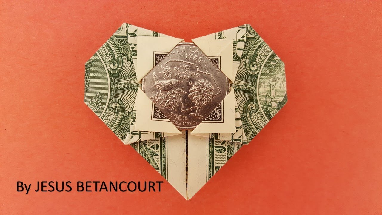 Dollar Origami - Heart Within a Heart | Dollar origami, Dollar ... | 720x1280