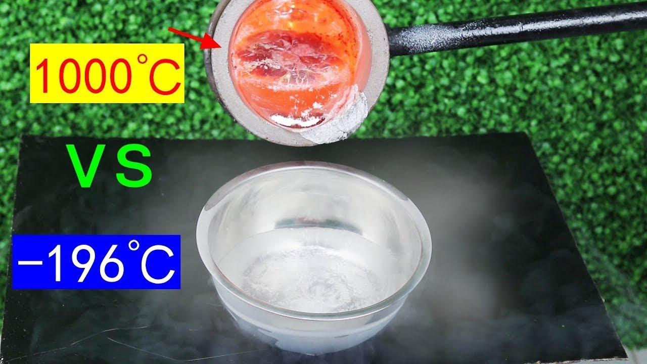 Experiment  liquid nitrogen VS Molten aluminum Burned red iron ball  1000°C and  196°C