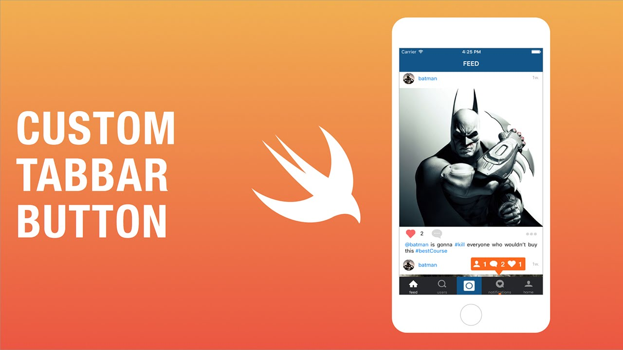 Instagram Clone with Swift and Xcode - Custom TabBar Button and Icon