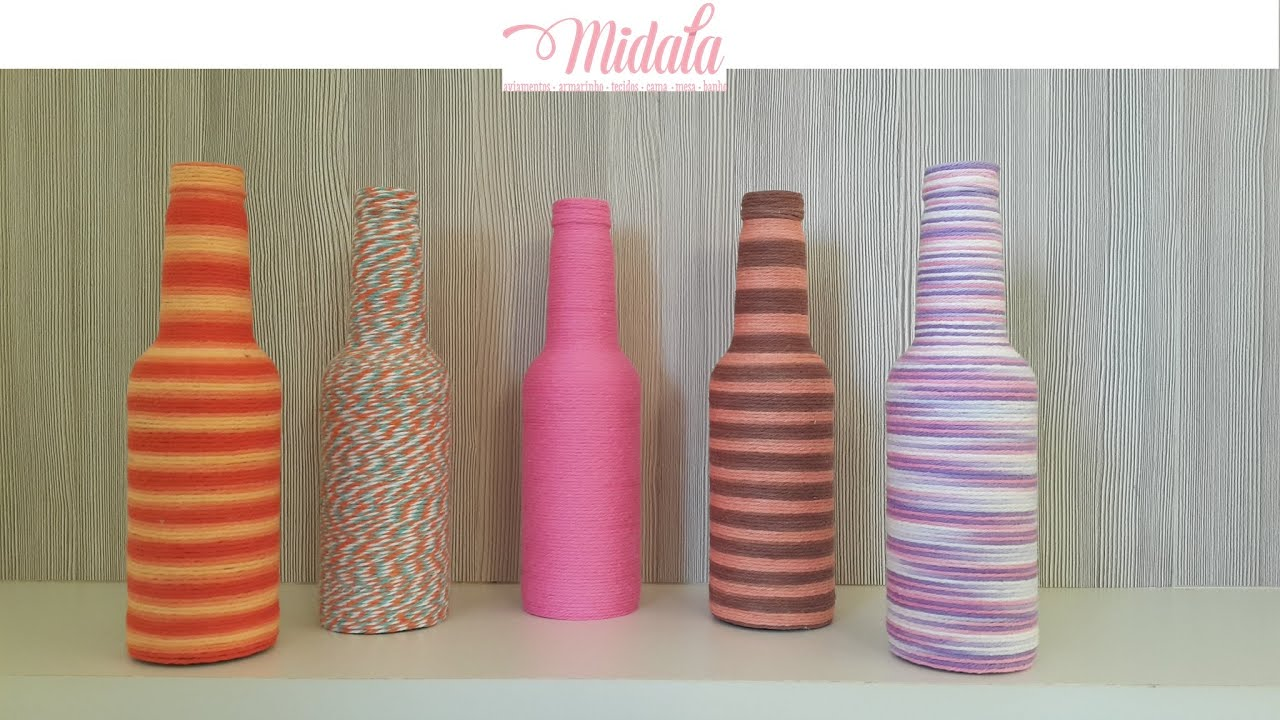 Garrafas Decoradas Com Barbante, Linhas ou Fios DIY Glass Bottle Decoration YouTube -> Decoração Em Garrafas Com Barbante
