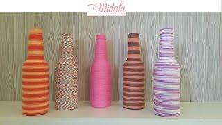 Garrafas Decoradas Com Barbante, Linhas ou Fios - DIY - Glass Bottle Decoration