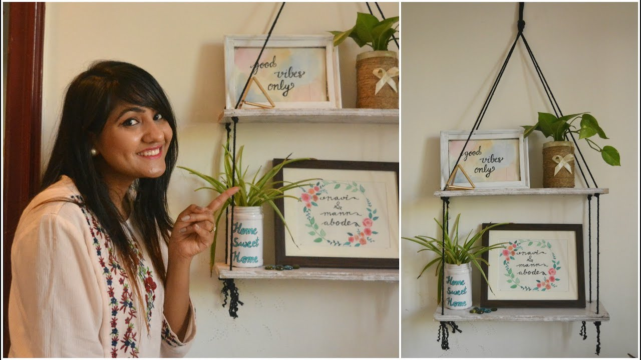 DIY Hanging Rope Shelves | Inexpensive Interior Design Tutorial ...