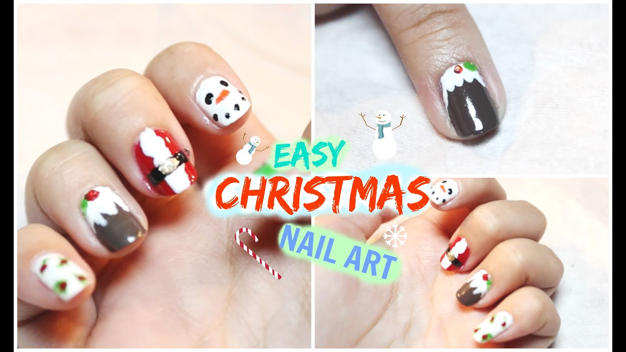 Cute And Easy Christmas Nail Art Using Toothpick Heartcindy Youtube