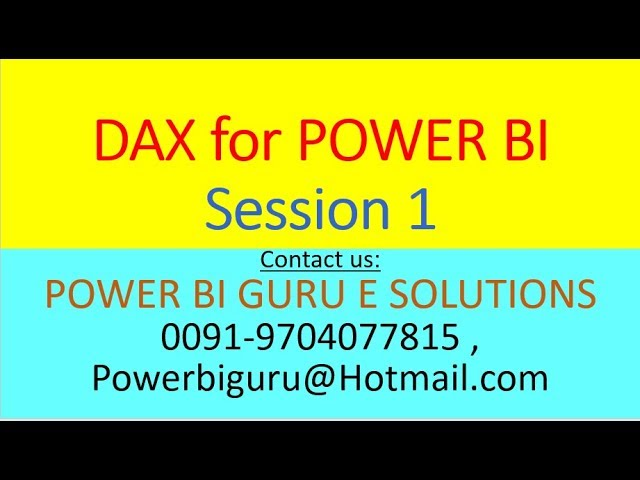 DAX For Power BI Session 1 | DAX Training | DAX Tutorial | POWER BI GURU