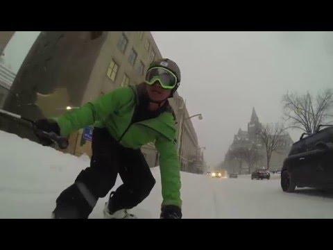 Snowboarding downtown Ottawa