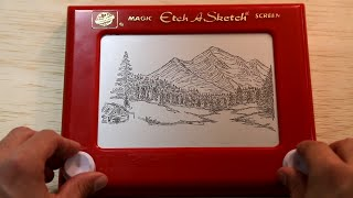 Bob Ross on Etch-a-Sketch