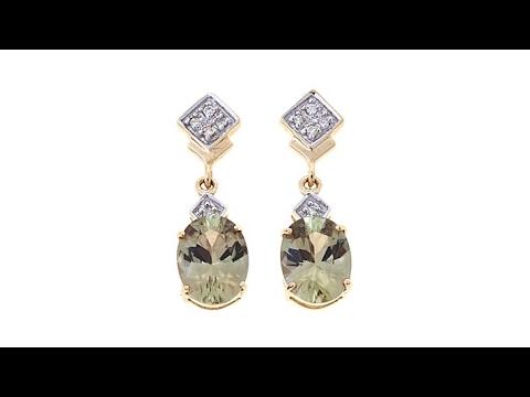Lance Fischer 3 7ctw Zultanite And Diamond 14k Earrings