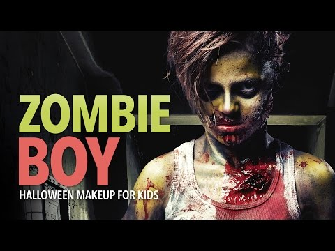 Zombie boy Halloween makeup for kids
