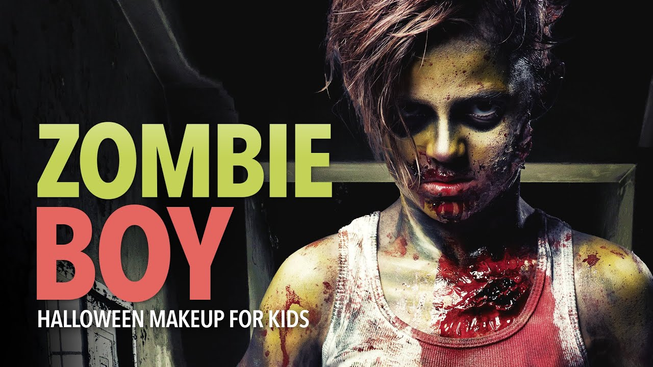 Zombie boy Halloween makeup for kids - YouTube