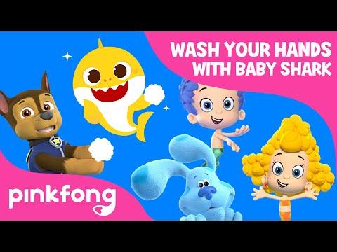 Wash Your Hands With Baby Shark, Chase, Blaze & Blue | Nick Jr. Crew X #BabySharkHandWashChallenge