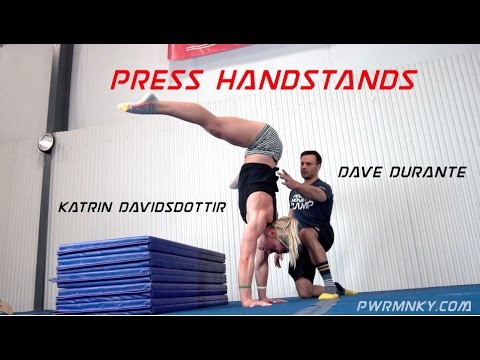 Dave Durante works Press Handstands with CrossFit Games Cham