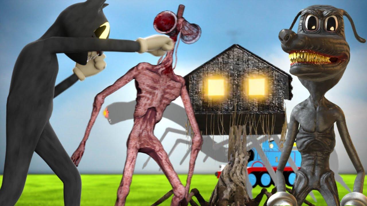 All Siren Head, Cartoon Cat, Dog, Thomas The Train & House Head CREATURES CAUGHT on CAMERA..!