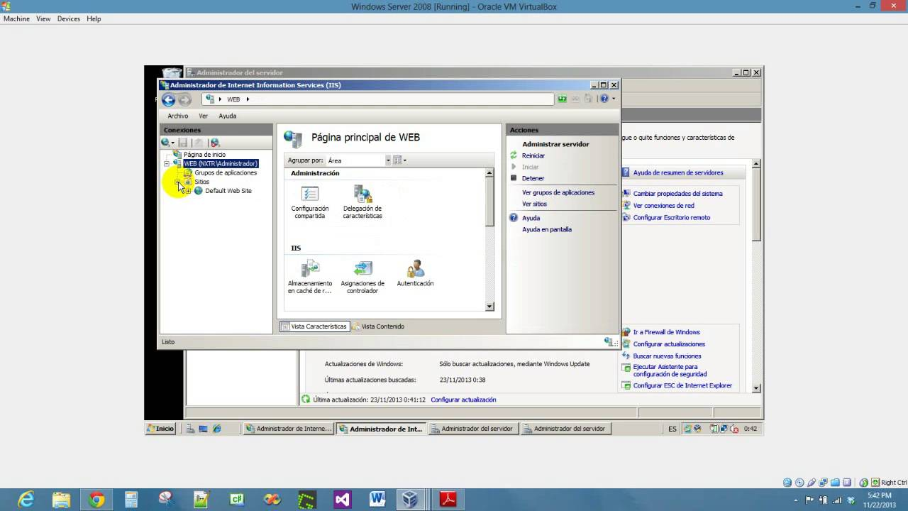 Instalando un Servidor Web (IIS) en Windows Server 2008 - YouTube