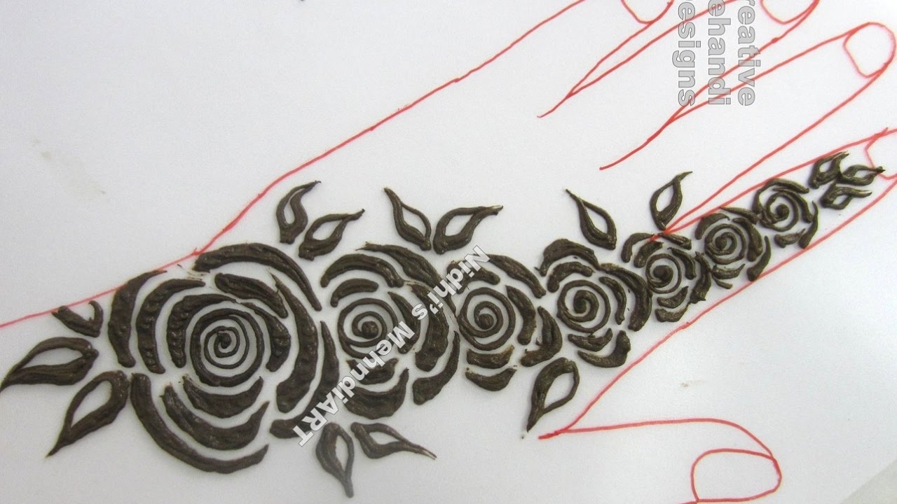Dark And Thick Roses For Back Hand Henna Mehndi Design Tutorial