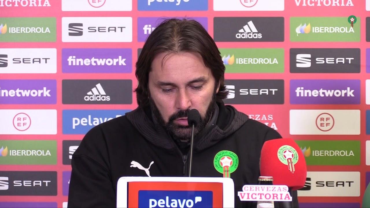 الندوة الصحفية لمدرب المنتخب الوطني لكرة القدم النسوية بعد مباراة اسبانيا