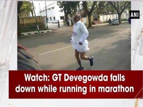 Watch: GT Devegowda falls down while running in marathon - #Karnataka News