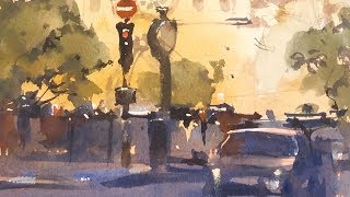 """Advancing with Watercolor: Color - """"Golden Hour, Notre Dame"""""""