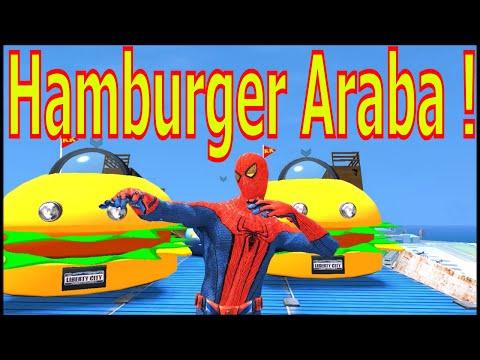 Örümcek adam Hamburger Arabayla uçmalar zıplamalarçizgi film türkçe, çizgi film, çocuklar için 2016