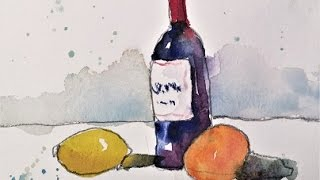 Easy And Fun Wine Bottle In Watercolor By Chris Petri Youtube
