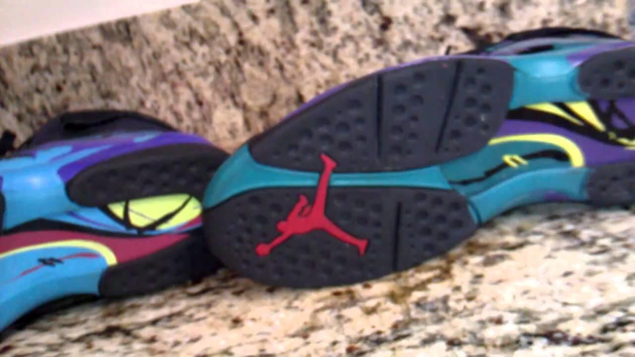 jordan 8 aqua comparison video www