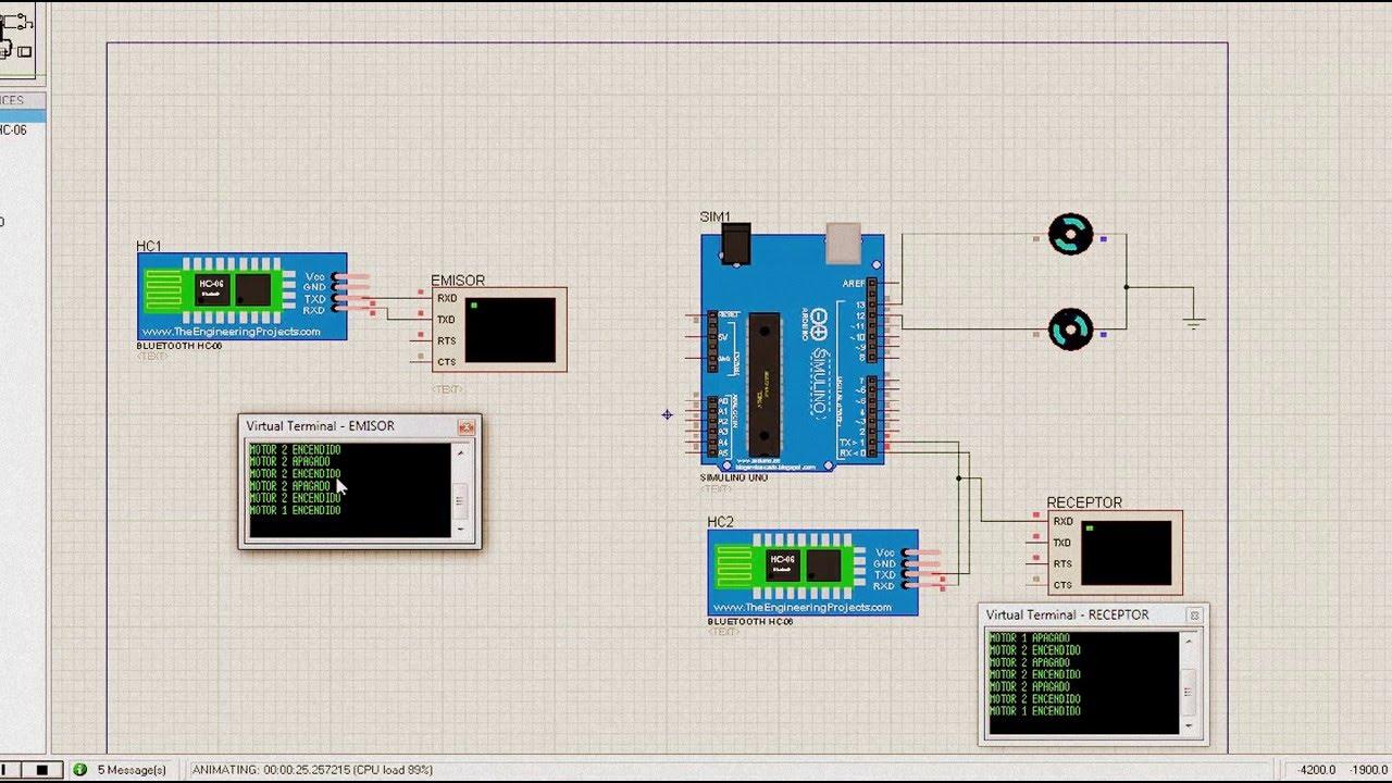 Simulacion Modulo Bluetooth Hc 06 Y Arduino Uno En Proteus
