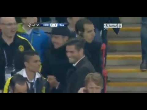 Mario Götze celebrates the Gündoğan Goal Dortmund vs Bayern Munich 25/05/2013
