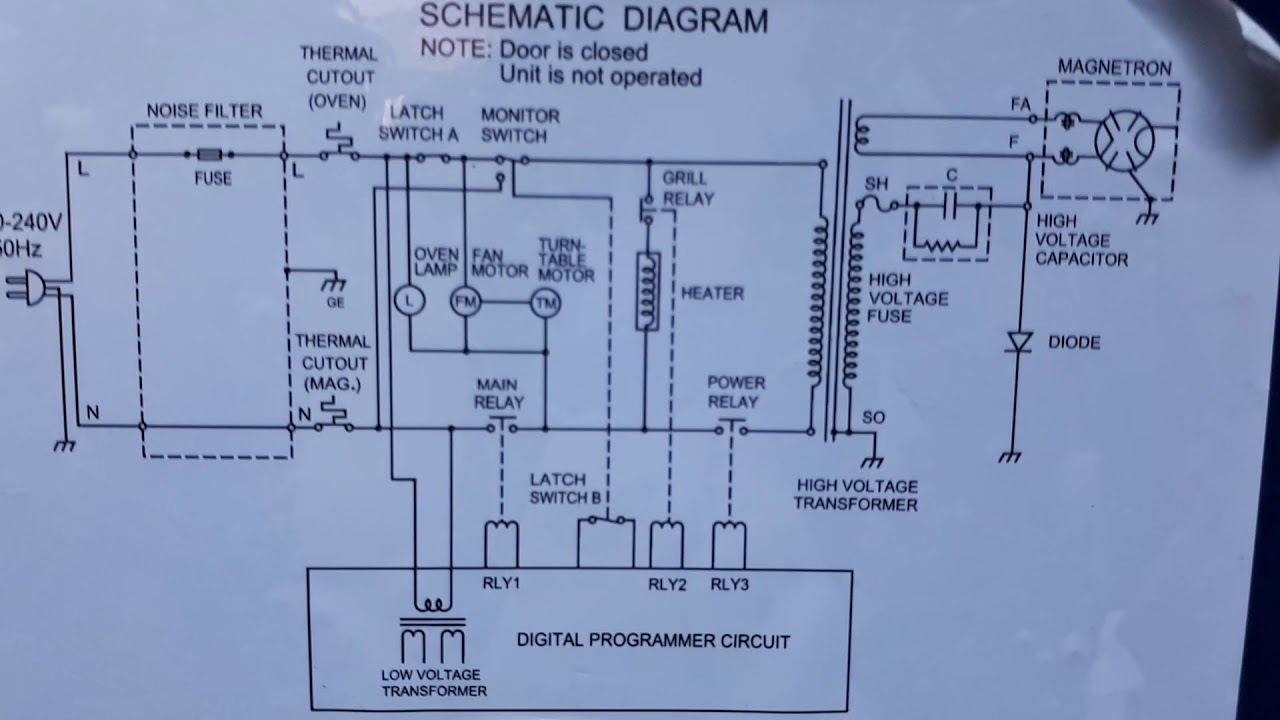 Micro oven circuit diagram  YouTube