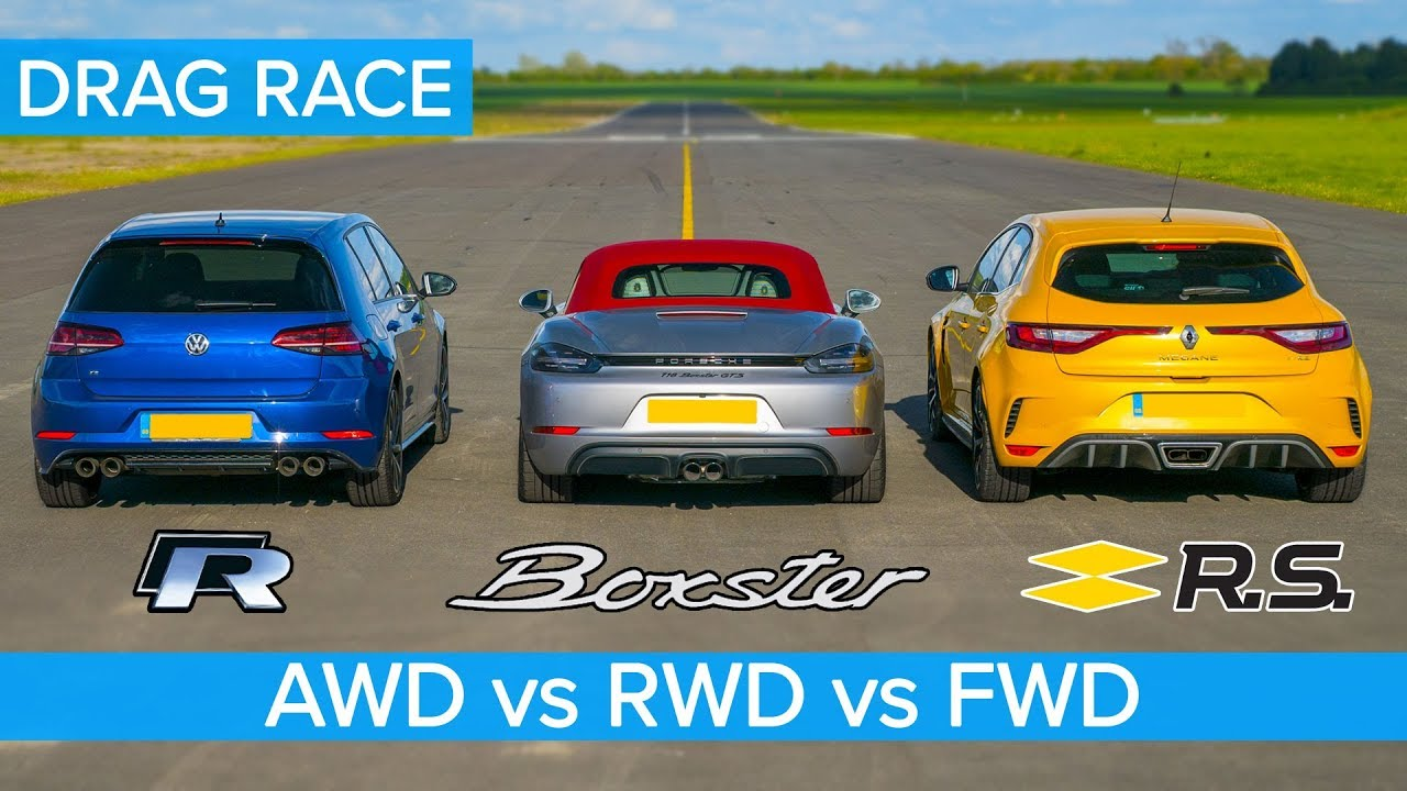 AWD v RWD v FWD DRAG RACE: Golf R v Boxster vs Megane Trophy.