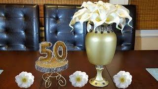 Elegant gold and black Centerpiece | 50th golden anniversary | home decor