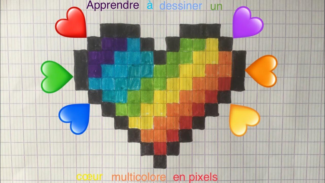 Apprendre A Dessiner Un Cœur Multicolore En Pixels Youtube