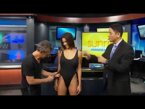 Watch This Guy Cut Up Miss Hawaii's Swimsuit On TV News 9GAG tv