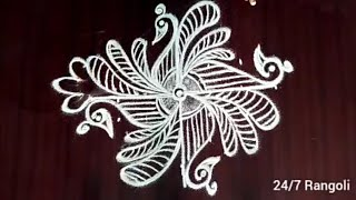 Latest cute peacock rangoli kolam with 7x1dots | 24/7 Rangoli | muggulu designs with dots #rangolide