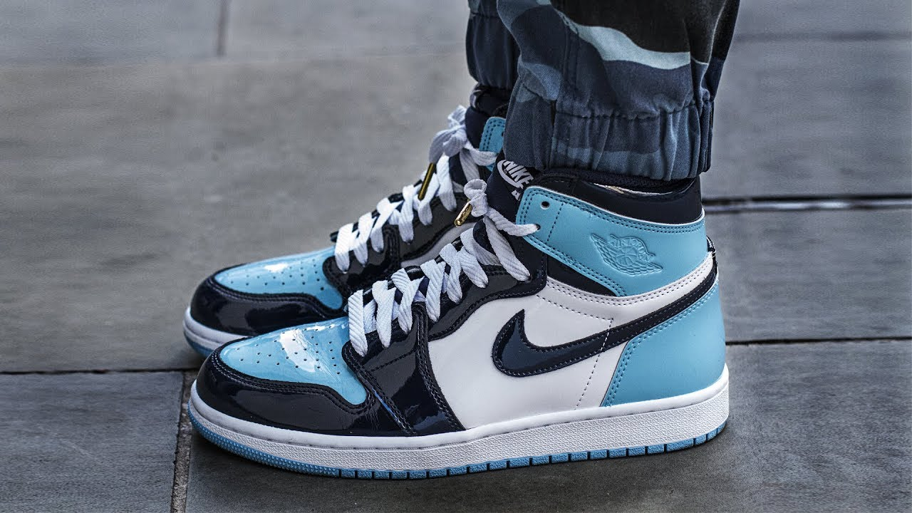 Sneakers Addict Air Jordan 1 Blue Chill Unc Patent Leather W