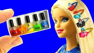 10 DIY Barbie doll Hacks: Barbie hair clips, Nail polish set, Baby bike seat, and more