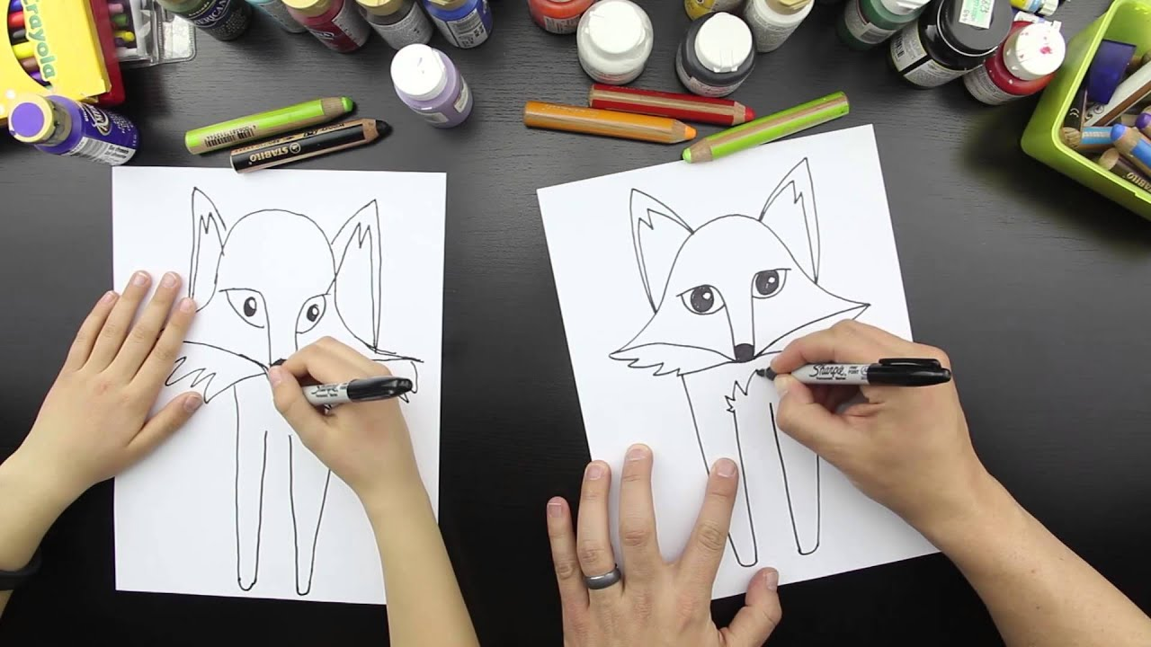 how to draw a fox head easy