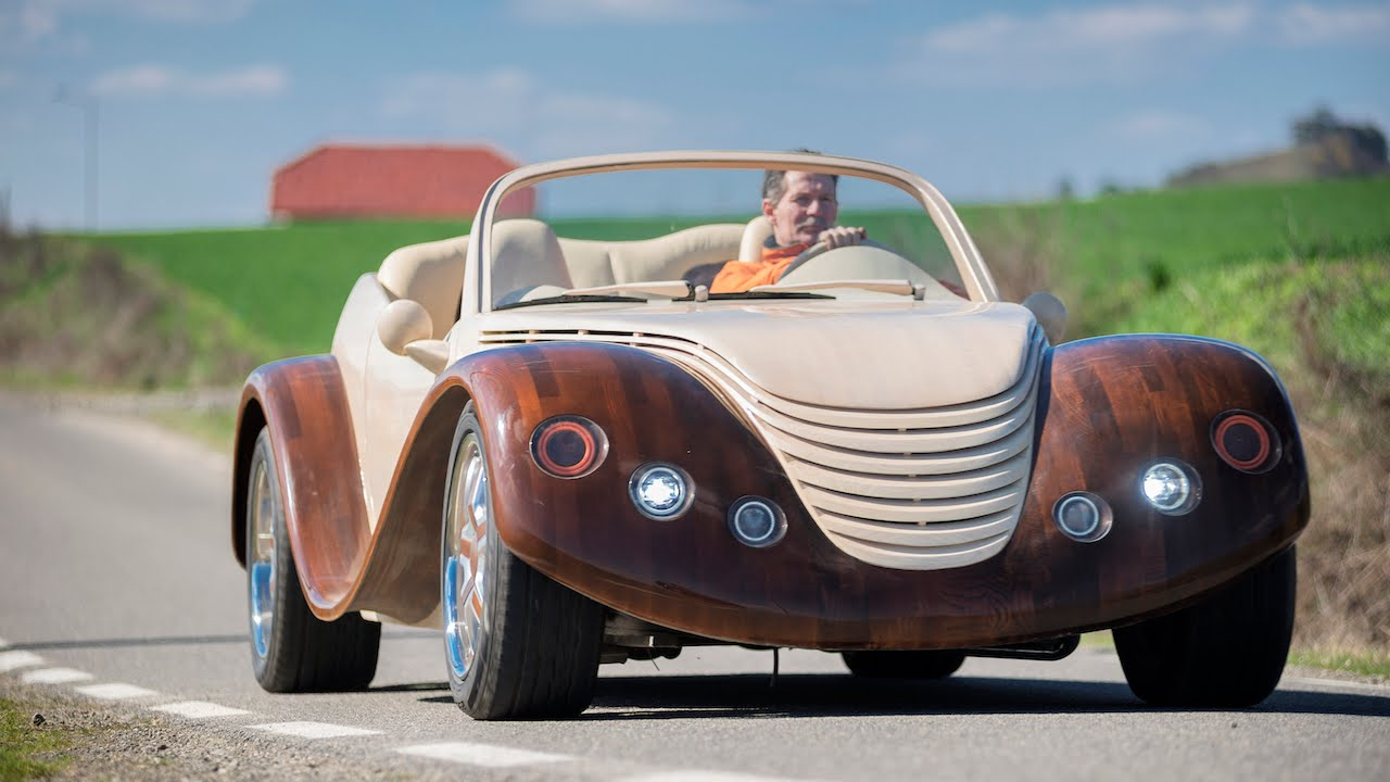 Car-pentry: Man Spends $20,000 Building Wooden Concept Car - YouTube