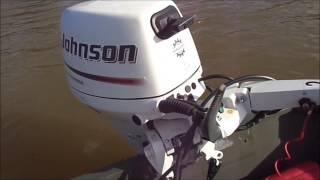 Johnson 9.9 HP 4 stroke on small Jon boat.