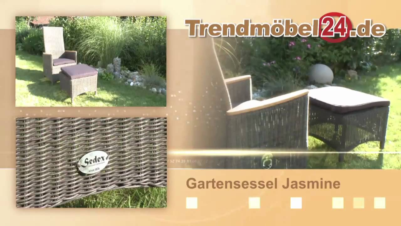 gartensessel jasmine mit stufenlos verstellbarer r ckenlehne youtube. Black Bedroom Furniture Sets. Home Design Ideas