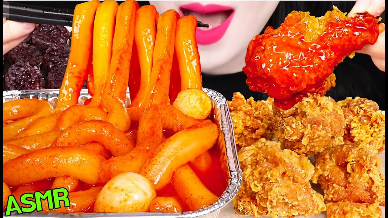 ASMR NOODLES TTEOKBOKKI + FRIED CHICKEN HOT WINGS 황금올리브 치킨 핫윙, 누들 떡볶이, 순대 먹방 EATING SOUNDS