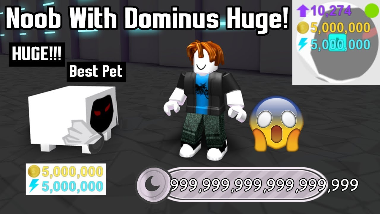 Noob With Dominus Huge! Breaks The Game In 1 Minute! Best Pet In Game! - Pet Simulator